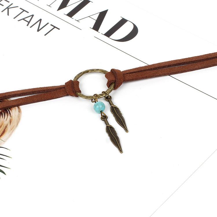 Retro fashion Geometric Circle Korean Velvet Leaf Turquoise Choker Double Necklace NHRN254711