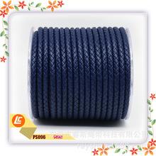 寶藍色高檔真牛皮繩環保牛皮染邊編織繩6股編織5MM牛皮繩真皮