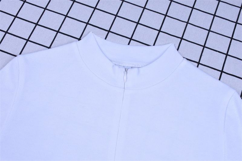new solid color zipper bodysuit NSHTL61524