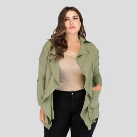 Spring and autumn new large size women's loose casual wild women's thin windbreaker jacket real shot JR8077