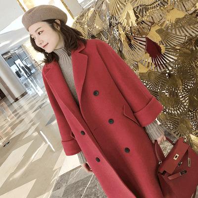 2018秋冬新款韩版中长款过膝红色双面呢大衣双排扣羊绒毛呢外套女