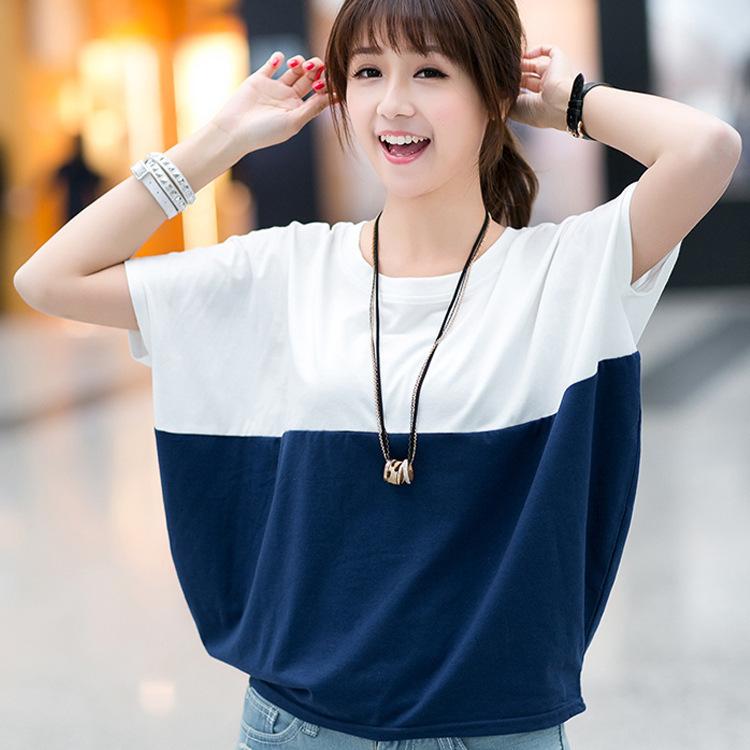 上衣夏季韩版大码女装宽松蝙蝠衫学生女士短袖T恤胖mm夏装体恤潮