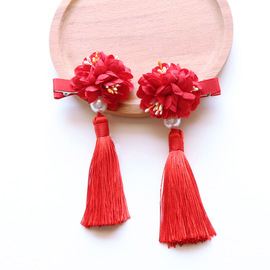 Children's checkered headgear court hairpin retro Chinese style hair ball hair accessories tassel performance jewelry female princess head flower