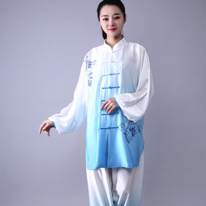 tai chi clothing kung fu uniforms martial arts costume gauze tai chi embroidered tai chi wushu performance costume wing chun group performance Costume