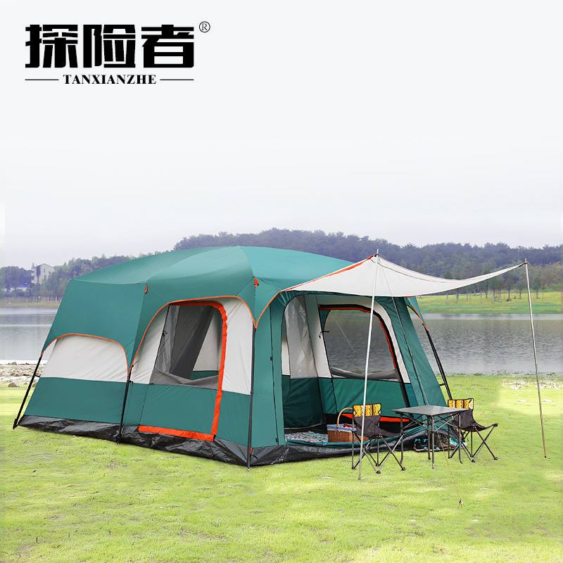 Explorer automatic tent outdoor two-bedroom one hall 3-4 people family rain 8-10 people multi-person camping