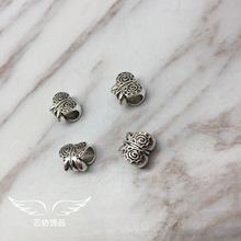 厂家直销 合金大孔珠子 项链手链饰品隔珠,热销复古蝴蝶合金散珠