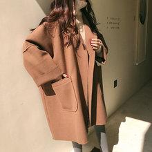 大码女装宽松廓形毛呢外套女秋冬韩版学生中长款大码斗篷呢子大衣