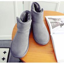 厂家直销秋冬新款雪地靴保暖纯色休闲女靴大小35-44码外贸批发