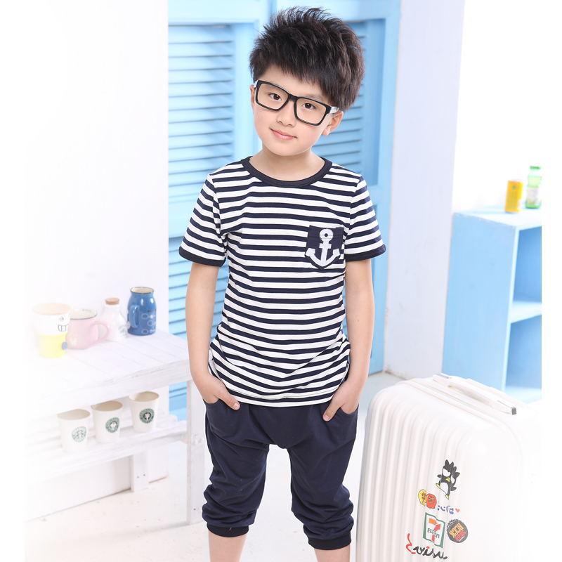中大童夏装短袖运动海军套条纹宝宝套装男童棉体恤字母上衣童套装