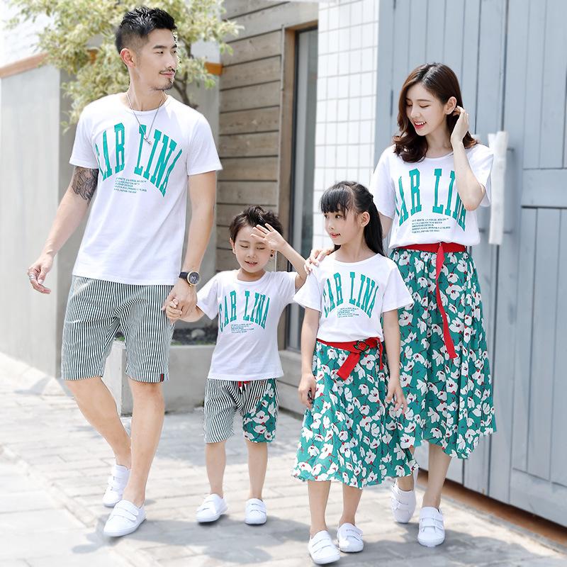 2021新款夏天亲子装一家三四口套装夏装短袖T恤套装碎花家庭装