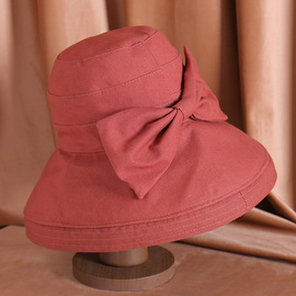 Hat female spring and summer new sun hat travel outdoor sun hat big bow bow cloth sunscreen windproof cap