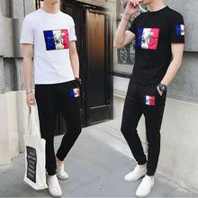 夏季短袖T恤男士圆领2019新款韩版时?#34892;?#38386;运动套装修身衣服潮流