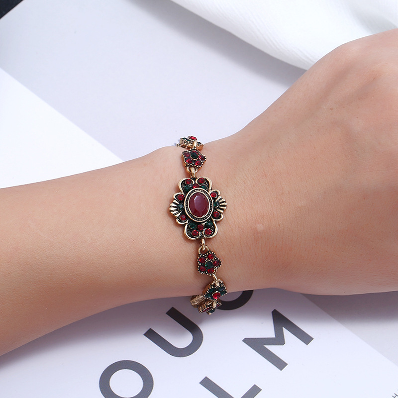 Alloy Fashion Flowers bracelet  (Red + green ancient KC alloy) NHKQ1985-Red-green-ancient-KC-alloy