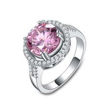 凯尼恩 wish热卖欧美创意天然?#20449;?#30707;粉色戒指 电镀白金锆石戒指