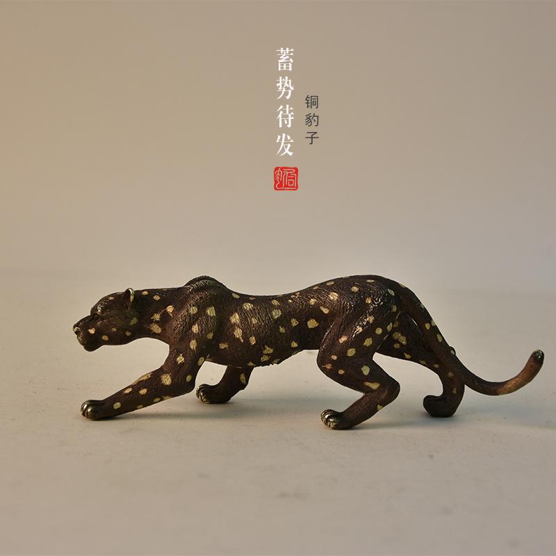 铜豹子 铜工艺品厂家精致金钱豹 黑豹 笔架 铜摆件 定做铜礼品
