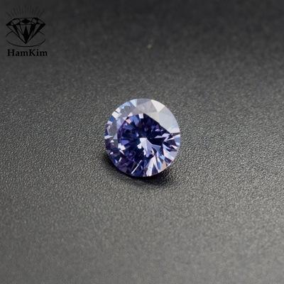 变兰圆形锆石裸石 变蓝宝石Lavender CZ锆钻梧州宝石6mm zircon