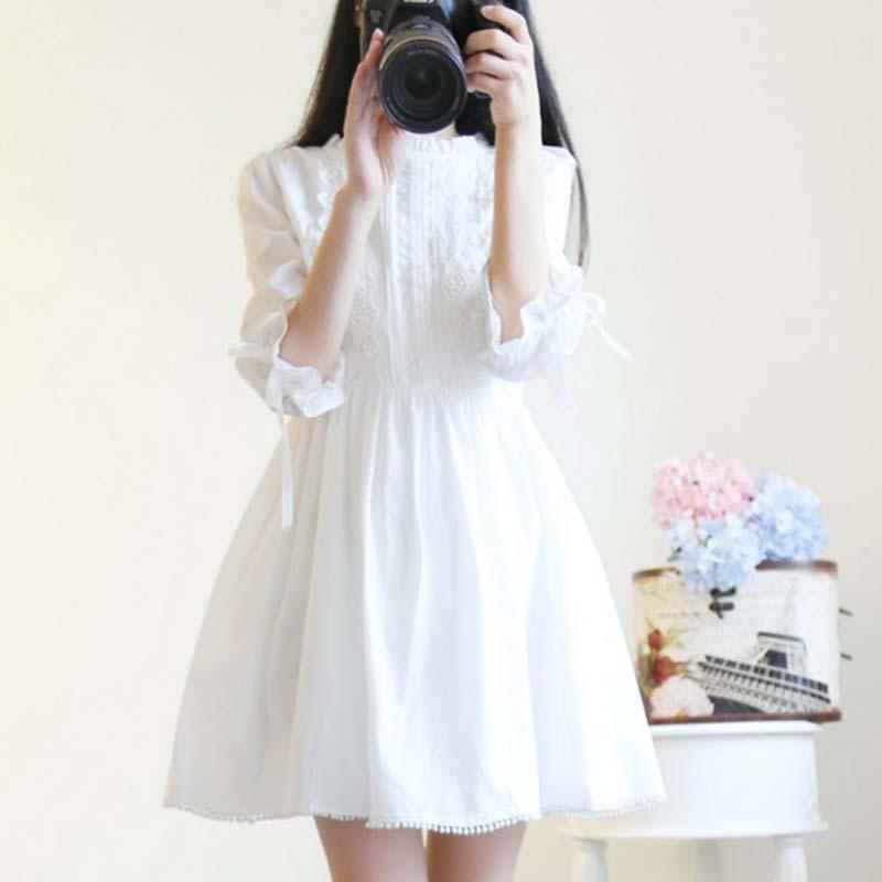 春秋女装甜美少女小清新日系蕾丝连衣裙夏季韩版仙女可爱白色裙子
