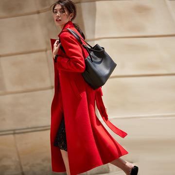 【盛宏】2018新款超长翻领水波纹羊绒羊毛大衣双面呢外套女7151