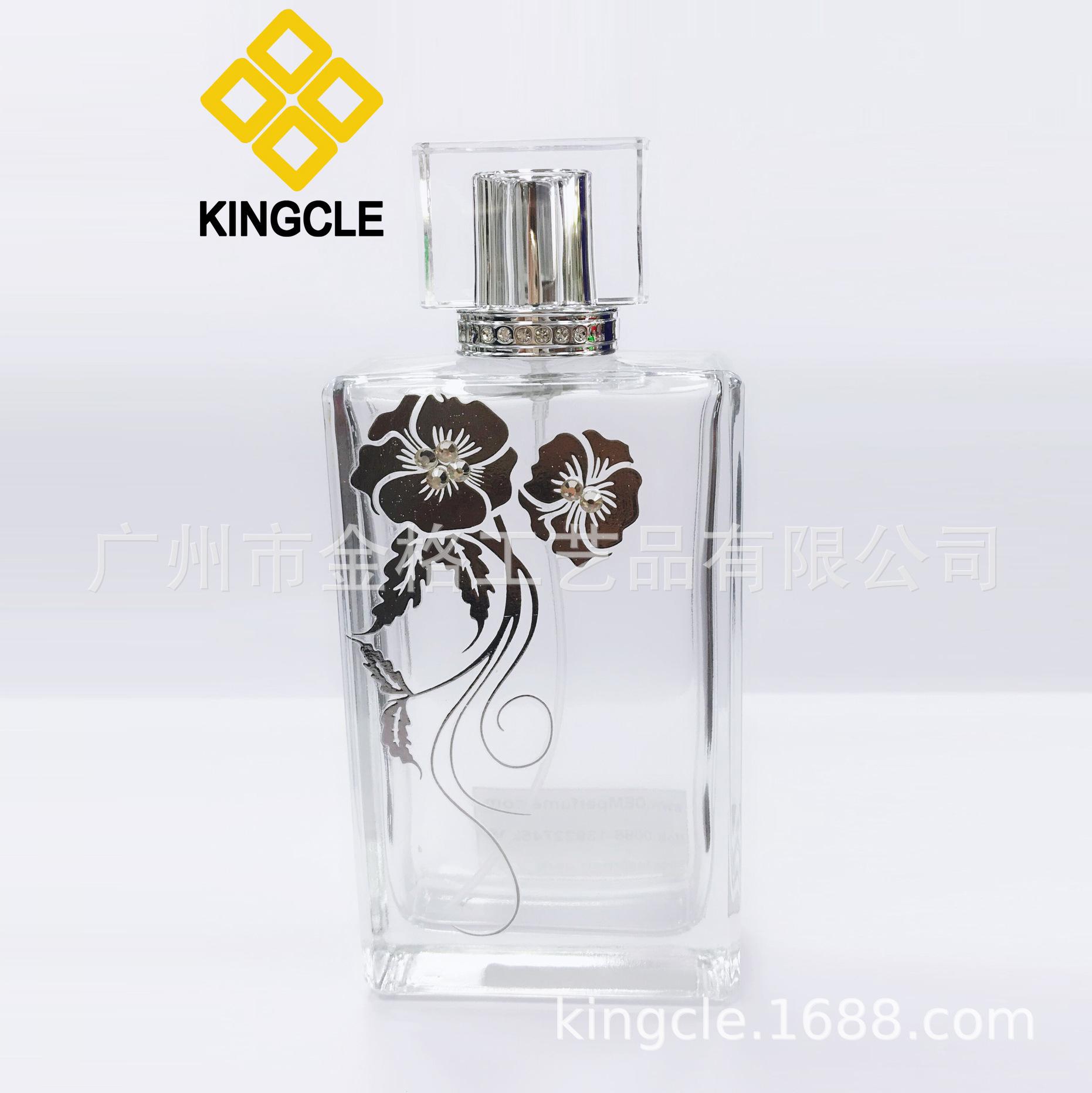 高温印花玻璃香水瓶 中东热销玻璃香水瓶配亚克力香水盖 喷雾包材
