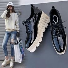 韩国爆款2018早春新品休闲鞋女厚底坡跟百搭系带松糕鞋一件代发