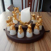 天然阿富汗玉石酒杯 玉杯 高檔藝術酒杯 金鑲玉 鍍真金12生肖白玉