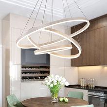 后現代簡約北歐環形LED餐廳吊燈 臥室創意個性圓形鋁材客廳燈具