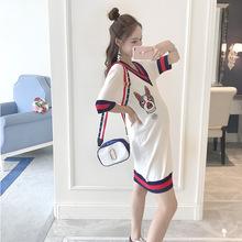 实拍2018夏季时尚孕妇装 韩版宽松时尚潮妈针织裙