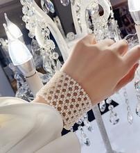 秋冬新款日韓網紅珍珠寬版首飾珍珠編織設計手鐲女手鏈飾品