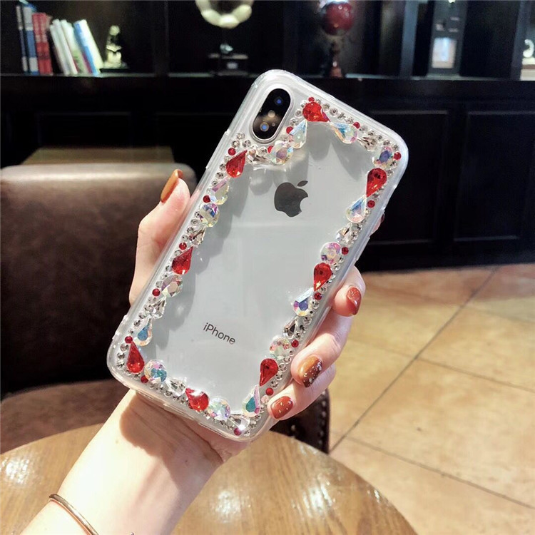 Apple 7 x 8x transparent female models silicone luxury rhinestones 6s all-inclusive soft shell iphone7plus color diamond goddess