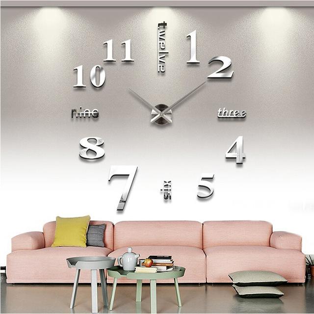 ตกแต่ง 3D ที่อาศัยอยู่สติ๊กเกอร์ติดผนังห้องนอนห้อง Diy ส่วนบุคคลบ้านผนังกระจกนาฬิการะฆังนาฬิกาใบ้ 015