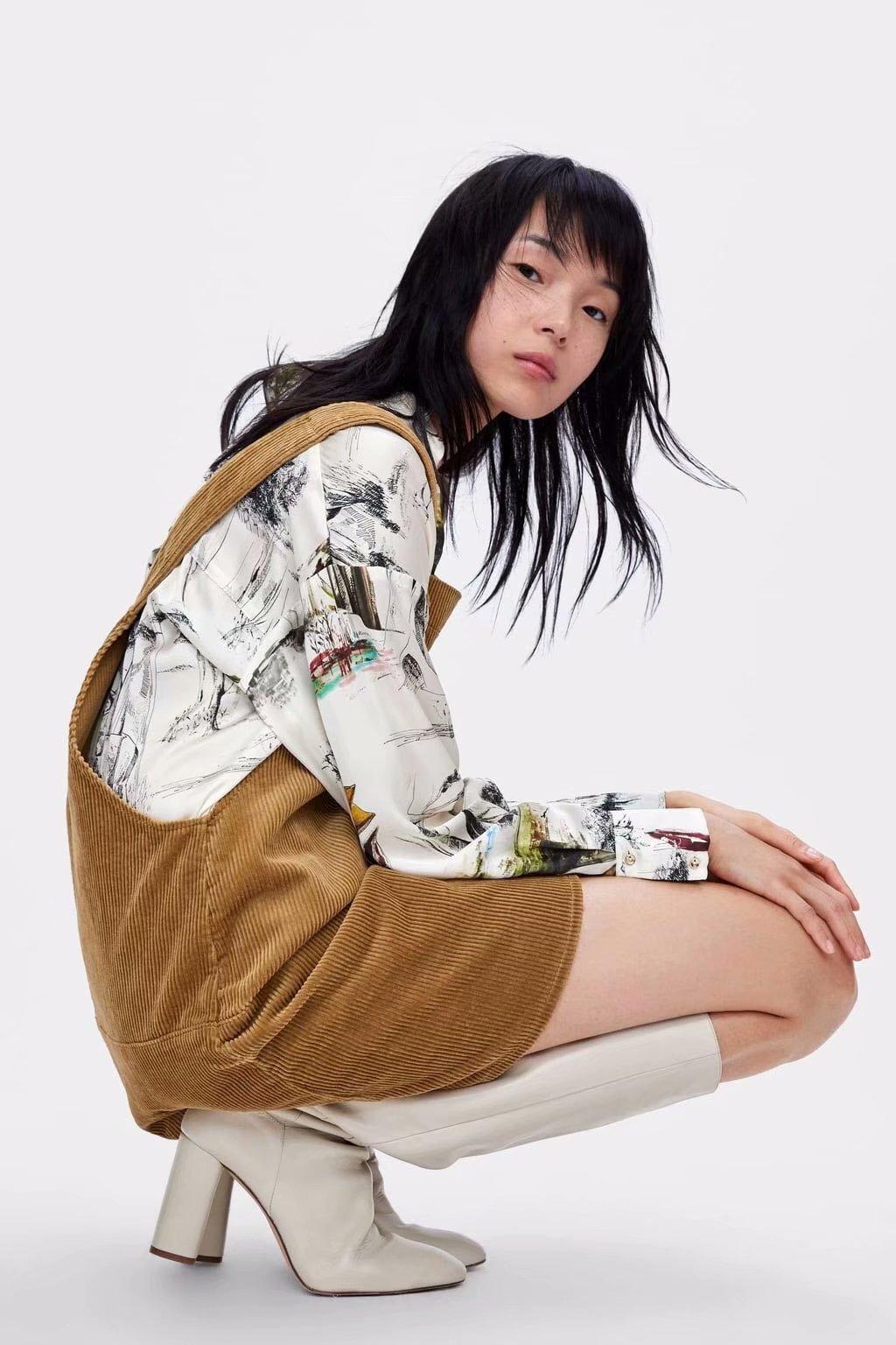 Polyester Fashion  skirt  (Khaki-S) NHAM6752-Khaki-S