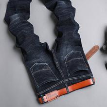 韓版青年潮流休閑牛仔褲男彈力修身春季新款直筒中腰男士牛仔長褲
