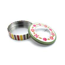 金属巧克力曲奇 糖果饼干盒 马口铁盒子食品罐 圆形开窗铁盒铁罐