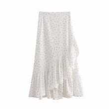 a249-74698 fmp 5611 歐美新款白底黑色波點荷葉邊半身裙圖片
