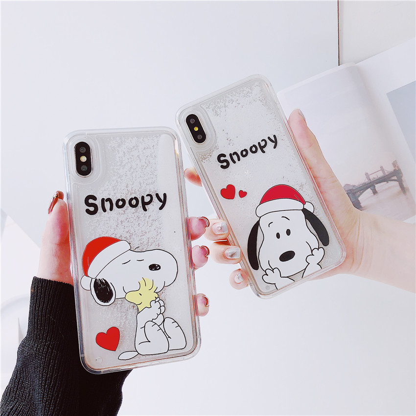 Snoopy mobile phone case iphoneX Max for creative cartoon Christmas snowflake sandpaper apple protective cover