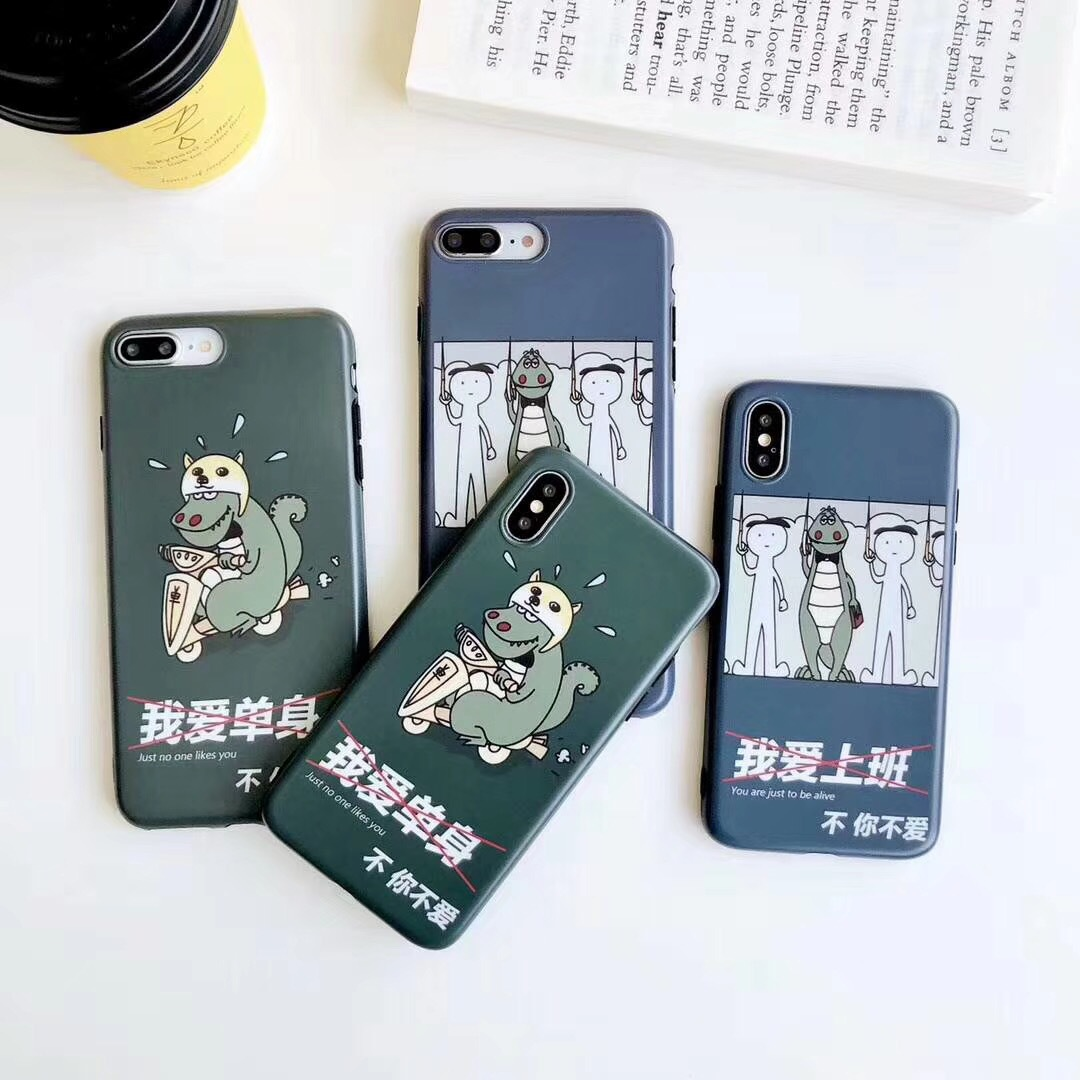 Spoof dinosaur apple 8plus matte IMD shatter-resistant mobile phone case cover iphoneX all-inclusive 6s protection soft shell female