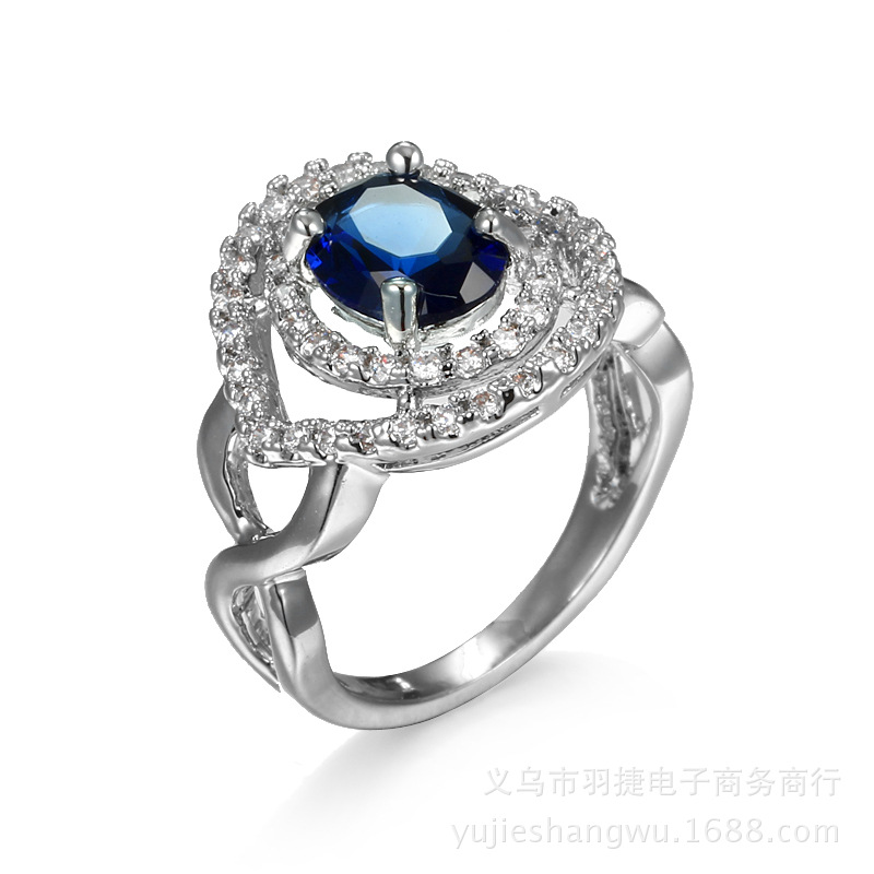 AliExpress Online New Inlaid Blue Zircon Jewelry Ring (Blue/Size:6,7,8,9,10) - intl