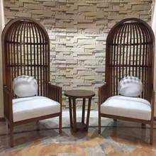 新古典公主椅 欧式实木高背椅鸟笼椅酒店装饰椅美容院接待椅现货