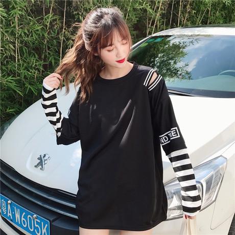 2018 봄 가을 신상 긴팔 후드 여성 티셔츠 한장 가오리 2종 학생 솔리드 루즈핏 상의 아우터