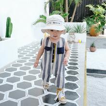宝贝真乖 外贸童装潮品婴幼儿竖条卡通爬服夏季新品男宝宝连体衣