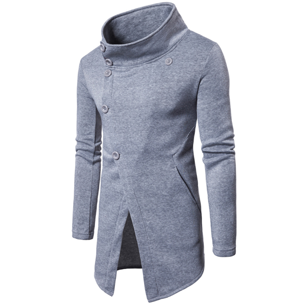 Foreign trade European men's spring and autumn new men's casual sweater personality slant placket button pure color sweater coat
