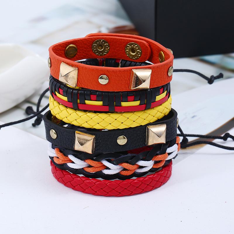 Leather Fashion Geometric bracelet(Six sets) NHPK2008-Six sets