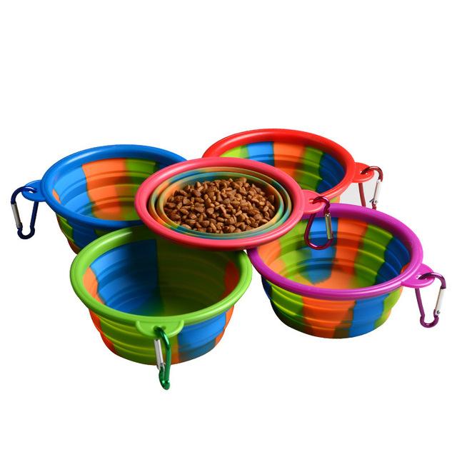 厂家直销 迷彩硅胶碗 可折叠 便携外出 宠物用品 狗狗食盆 批发价