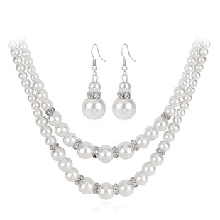 Cross-border exclusive selling pearl necklace set, double-layer pearl necklace, all-match jewelry for dinner party temperament