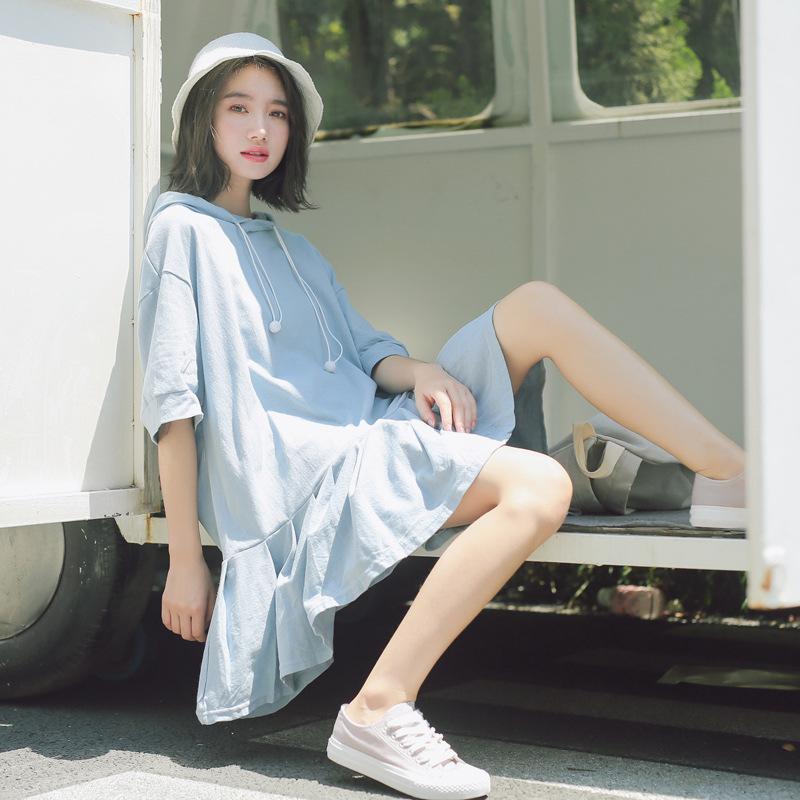 连衣裙女夏季2020新款韩版宽松抽绳连帽中长款休闲chic短袖t恤