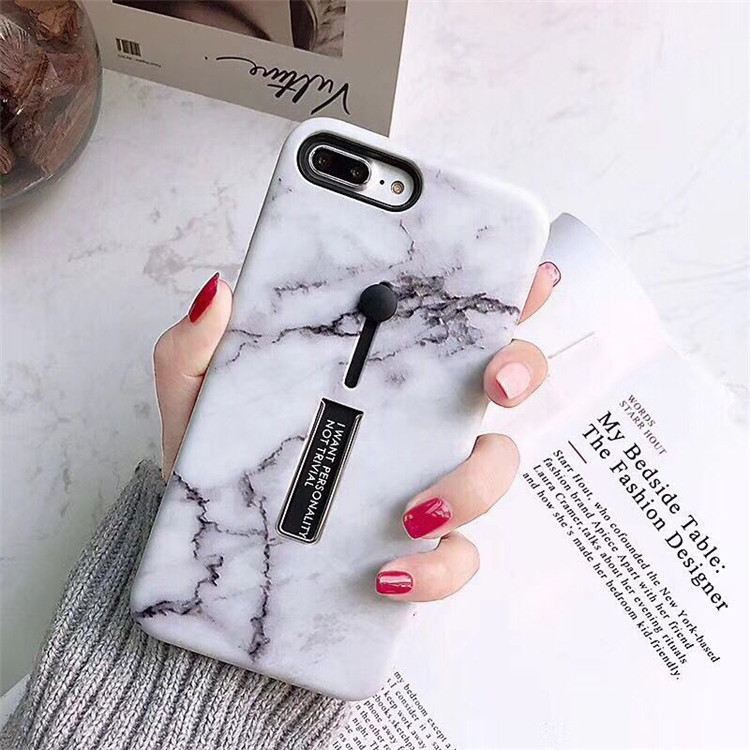 Couple black and white marble pattern for XR telescopic mobile phone shell ring stretch iphone8X all-inclusive soft shell bracket
