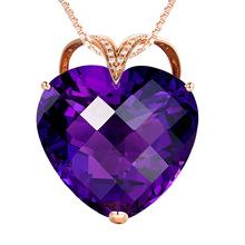 韓版紫水晶吊墜 天然紫晶愛心鍍18K玫瑰金伴鉆鑲嵌寶石掛墜女款