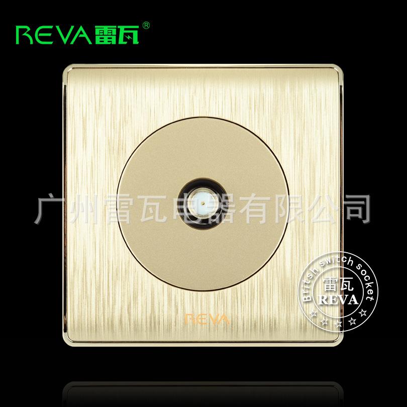 卫星电视插座面板金色圆形拉丝宽频有线电视机顶盒卫星电视插座