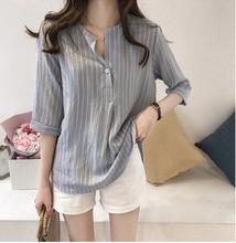 2020夏季新款韩版时尚大码圆领条纹衬衫女七分袖上衣宽松休闲衬衣