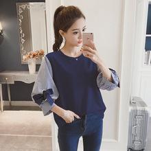 2018春装新款韩版女装宽松七分袖假两件上衣bf潮中袖长袖T恤学生